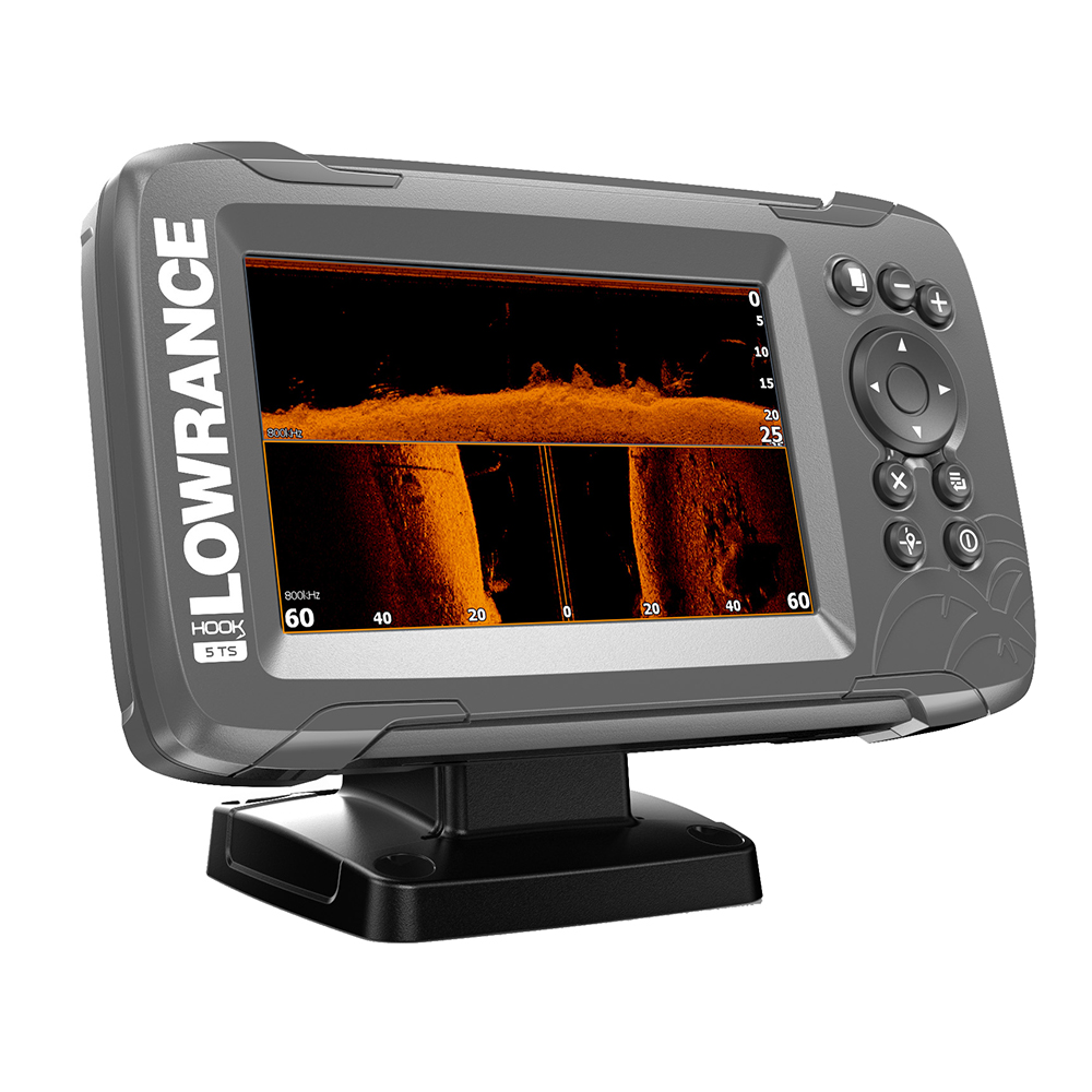 LOWRANCE HOOK²-5 CHARTPLOTTER/FISHFINDER TRIPLESHOT TRANSOM MOUNT TRANSDUCER W/BUILT-IN US INLAND CHARTS